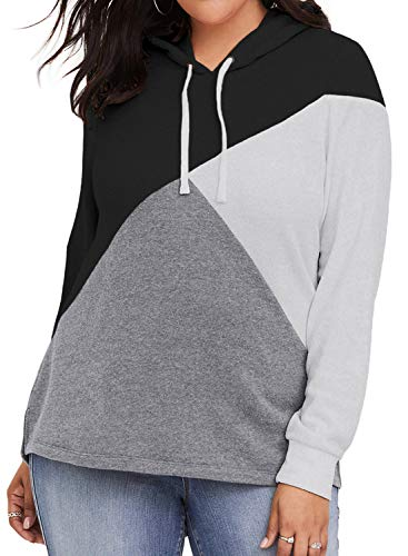 - Womens Long Sleeve Color Block Plus Size Hoodies Drawstring Hooded Sweatshirts Tunic Pullover Tops Jacket Oversized Outwear Black 3X