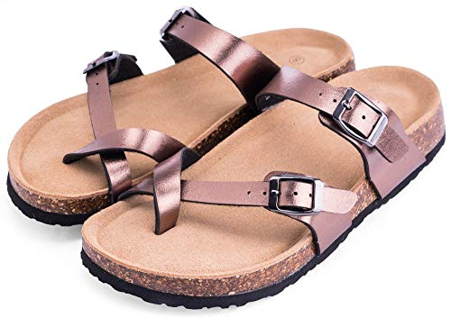 MIXIN Women's Indoor Outdoor Comfy Arch Support Leather Buckle Strap Cork Slides Flats Sandals (10 M US Women, Bronze with Crossing Strap Toe-Ring)