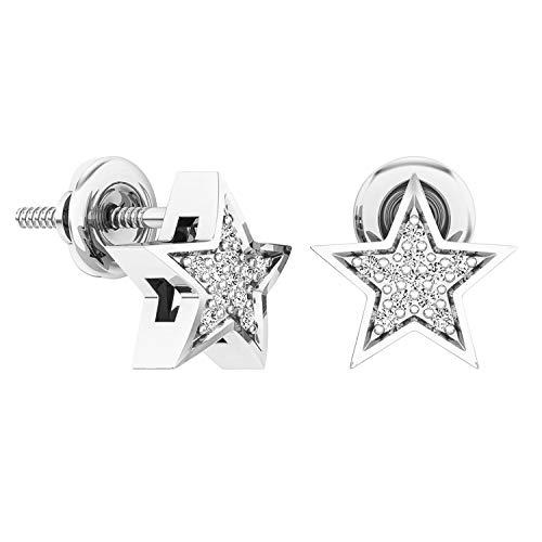 (Dazzlingrock Collection 0.07 Carat (ctw) 10K Round White Diamond Ladies Star Shape Stud Earrings, White Gold)