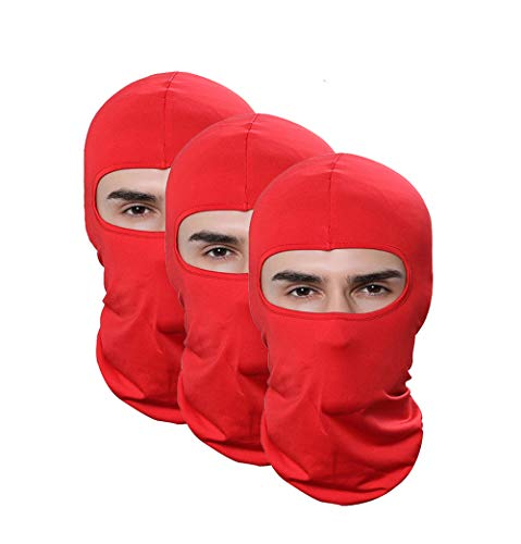 Pack of 3 Lycra Outdoor Sport Winter Ski Mask Red Sun Balaclava Running Cycling Motorcycle Hat