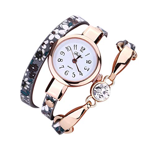 - chenqiu Fashion Leather Strap Ladies Bracelet Watch ,Women's Luxury Bracelet Watch and Swarovski Crystal Accent Bracelet Set