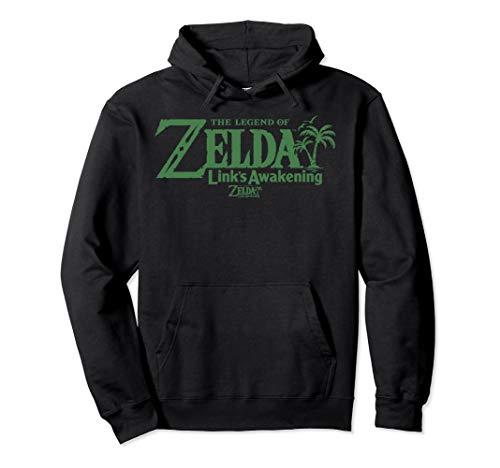 Legend Of Zelda Links Awakening Palm Tree Green Text Logo Pullover Hoodie (Logo Trees Palm Two)