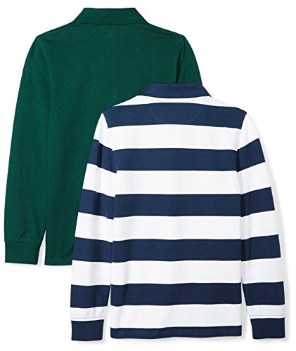 Amazon Essentials Boys' 2-Pack Long-Sleeve Pique Polo Shirt, Navy/Rugby White Stripe/Green, 4T by Amazon Essentials (Image #2)