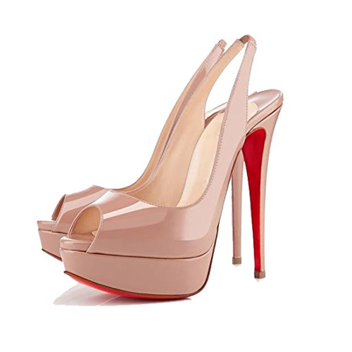 San Hojas Red Bottom High Heels Patent Leather Pointed Pumps Red (7, nude )
