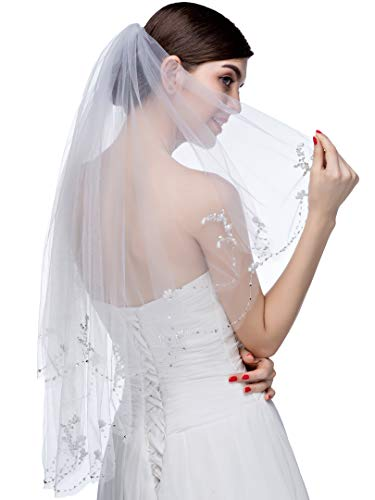 Edith qi 2 Tier Floral Pearl Lace Beaded Wedding Bridal Veil Fingertip Length with Comb (193-ivory, 2 Tier-33