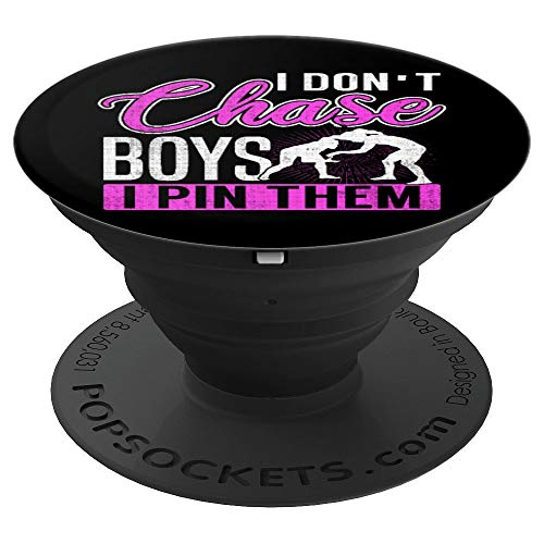 Chick Wrestling - I Don't Chase Boys I Pin Them Girl Wrestlers PopSockets Grip - PopSockets Grip and Stand for Phones and Tablets