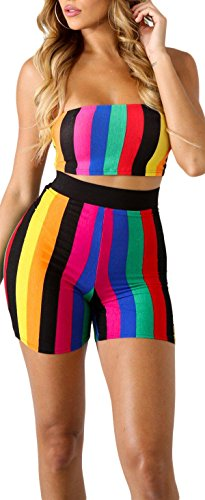 Speedle Women Sexy 2 Pieces Stripe Outfits Multicolored Bandage Tube Crop Top + Color Block Mini Shorts Set -