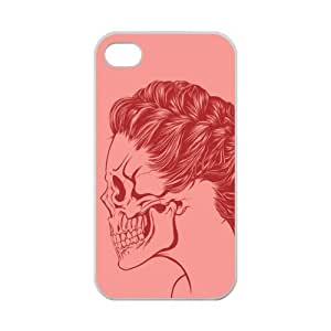 Custom Stylish Skull Girl Red Color Printed Design TPU Protective Case for iPhone 4 4S Casehome-02340