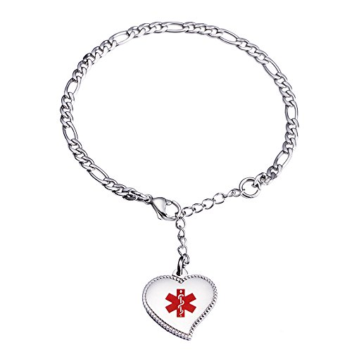 (linnalove Pre-Engraving Blood THINNER Silver Fashion Mini Figaro Chain with Heart Charm Medical id Bracelet for)