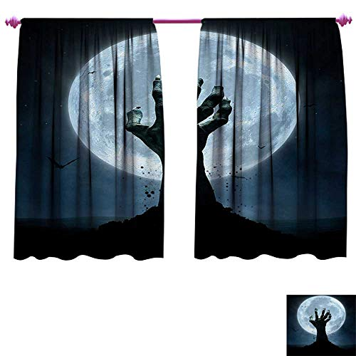 cobeDecor Halloween Customized Curtains Realistic Zombie Earth Soil Full Moon Bat Horror Story October Twilight Themed Thermal Insulating Blackout Curtain W63 x L45 Blue -