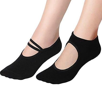 Amazon.com: 2 Pairs Women Yoga Socks Non Slip Yoga Socks ...
