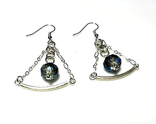 Sapphire Blue Crystal Silver Tube Earrings in a Triangular Shape - Hypoallergenic or Nickel Free Ear Wires