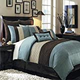 12 PIECES BEDDING SET LUXURY HUDSON COMFORTER SET KING SIZE BLUE BROWN AND OFF WHITE. USUALLY SHIPS 1-2 BUSINESS DAYS UNLESS THERE IS A PROBLEM.