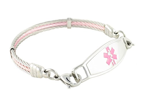 Medical Alert Bracelet for Women, Diabetes Type 1 | Diabetic Medical Alert ID | Other Conditions Available | Chapel Cable, Pink, ()