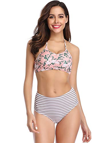 Waisted Bikini Set Halter Floral Print Two Piece Swimsuits (Pink, L) ()