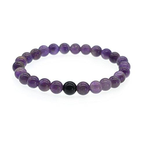 (ZHEPIN Handmade Gem Semi Precious Gemstone 8MM Beads Stretch Bracelet Gemstone Bracelet for Women)