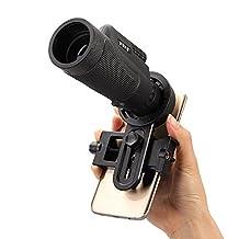 Monocular Telescope+Mobile phone Telescope Lens, MYBDJ Dongchaqiuhao 10x40 Optical Zoom Cell Phone Lens Monocular Telescope Universal Phone Holder + Clip-on Mobile phone Telescope Lens universal Holder For Smartphone Hiking Concert