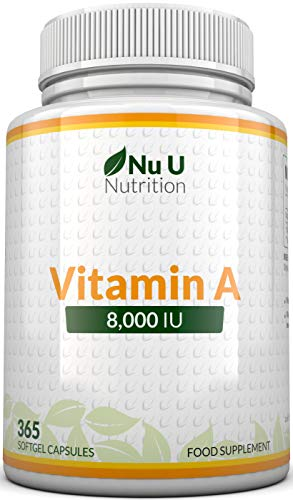Vitamin A 8000 IU – High Strength Vitamin A Supplement, 400 Softgel Capsules 1 Year Supply for The Maintenance of Normal…