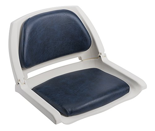 Wise 8WD139 Series Molded Fishing Boat Seat with Marine Grade Cushion Pads, White Shell, Navy Cushion