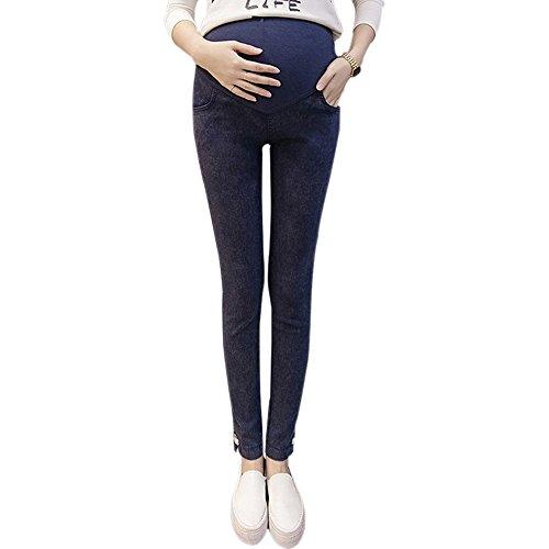 ZEVONDA Ultimo stile Leggings Donna Incinta in Jeans Elasticizzati a vita alta Blu