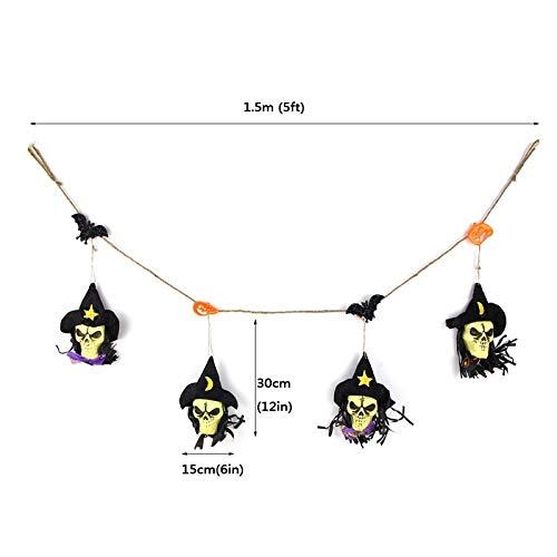 VT BigHome Sunbeauty Black Fabric Skull Garland Halloween Bunting Bats Pumpkins DIY Halloween Decorations Wall Hanging Home Decoration -