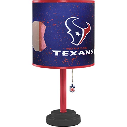 - MISC NFL Houston Texans Table Lamp Large, 18 Inch Desk Lamp with Shade Sports Pattern Cute Football Themed Nightstand Lamp Team Logo for Fan Team Spirit Blue, MDF Plastic