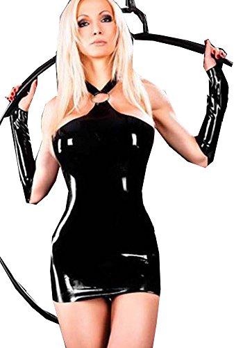 Fashion Queen Women's Sexy Halter Fancy Mini Dress Faux Leather Butt Lifter Costume (M, Black) (Stripper Costumes)