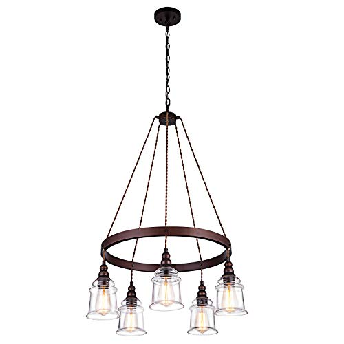 Lanros 5-Light Wagon Wheel Chandelier,Antique Metal Flaxen and Hemp Rope Circle Pendant Lighting with Clear Glass Bell Shaded Pendants for Dining Room,Foyer,Kitchen,Entryway