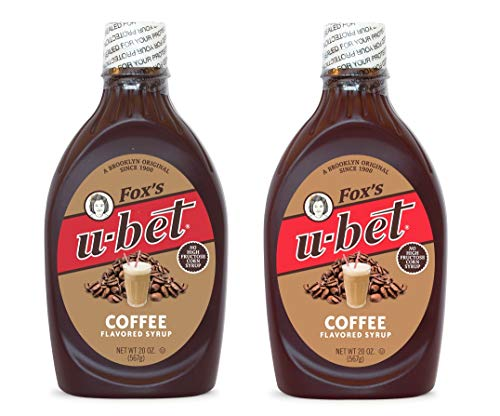 - Fox's U-bet, Coffee Flavored Syrup, Fat Free, 20oz (2 Pack), No High Fructose Corn Syrup, Dairy Free