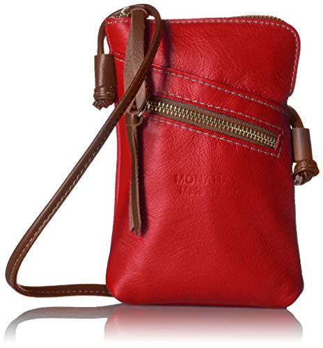MONAHAY Small Italian Leather Cross Body Cell Phone and Passport Travel Pouch Bag MH9723 ... (Red/Brown)
