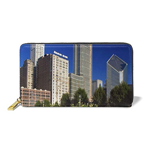 Women's New Card Holder New Fashion Wristlets Wallets Chicago Skyline From Millennium Park - Millennium Leather Card Wallet