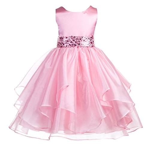 ekidsbridal Asymmetric Ruffled Organza Sequin Flower Girl Dress Toddler Girl Dresses 012S 4 Dusty Rose