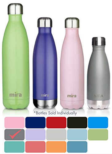 MIRA Stainless Steel Vacuum Insulated Water Bottle | Leak-proof Double Walled Cola Shape Bottle | Keeps Drinks Cold for 24 hours & Hot for 12 hours (Ruby Red, 12 oz (350 ml, 0.37 qt))