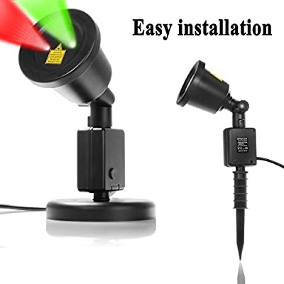 RED and Green 2 Color Laser Landscape Projector Light Laser Beams Illuminate Landscaping, Pool Areas. Low Voltage. Holiday Lighting, Decoration, Christmas Lights