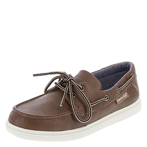 SmartFit Medium Tan Boys' Bently Boat Shoes 5.5 Regular (Boys Oxfords Casual)