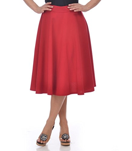 Steady-Clothing-High-Waist-Pin-up-Office-Lady-Cherry-Red-Swing-Circle-Midi-Skirt