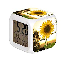 ALPERT Child 7 Color Change LED Digital Alarm Clock with Date Alarm Thermometer Desktop Table Cube Alarm Clock Night Glowing Flash Watch Toys Sunflower During Sunset