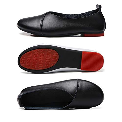 805e98fa84793 KneaBorn Womens Formal Leather Flats Uniform Dress Flat Slip On Shoes Size  9 Black