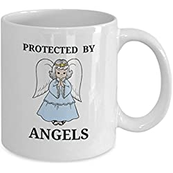 Protected By Angels Coffee Tea Mug-Faith I Believe in Angels-Guardian Angel Protection Numbers 444