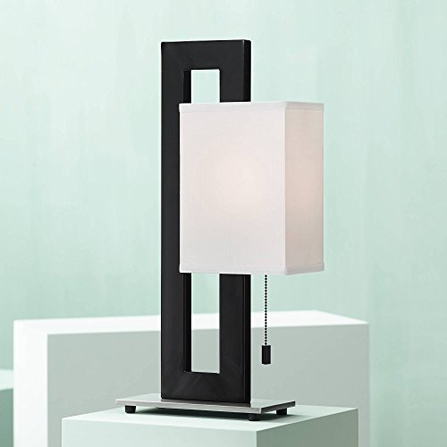 Floating Square Modern Accent Table Lamp Black Metal Rectangular White Box Shade for Living Room Family Bedroom Bedside - 360 Lighting ()