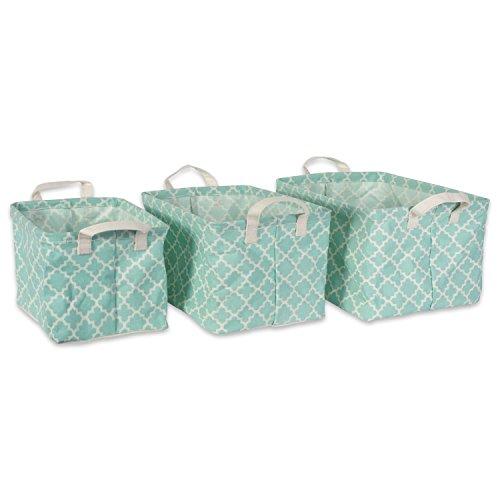 DII Cotton/Polyester Laundry Basket Assorted Small Bins, Set of 3, Aqua Lattice