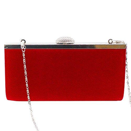 Prom Evening Phone HandBag Bag Diamante velvet Women Party Box Wedding Crystal red Purse Satin Clutch Wocharm nqFxwH10
