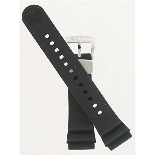 Seiko 22mm Black Resin Diver Strap for Series SRP773/775/777/779 (Strap Resin Black)
