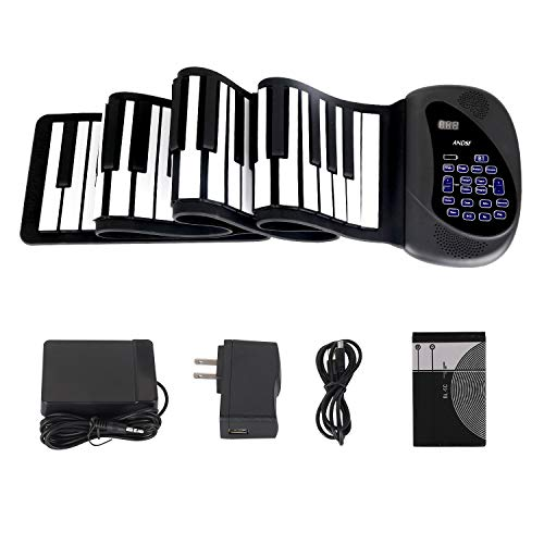 Portable Flexible Electronic 88-Key piano - ANDSF [2019 Upgraded Version ] double loudspeaker with Bluetooth microphone music keyboard piano built-in rechargeable battery for beginners gift