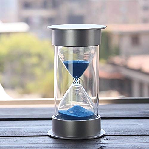 30 Minutes Hourglass,Siveit Modern Sand Timer with Blue Sand for Mantel Office Desk Coffee Table Book Shelf Curio Cabinet or End Table Christmas Birthday Valentine's Present(30Min Blue) (30 Minute Sand Glass)