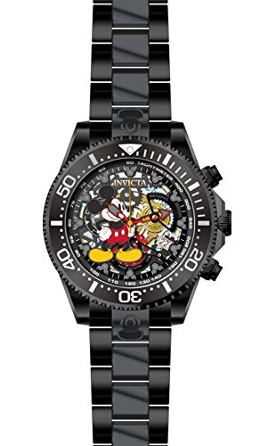 Invicta Men's Disney Limited Edition Quartz Watch with Stainless Steel Strap, Black, 22 (Model: 27406)