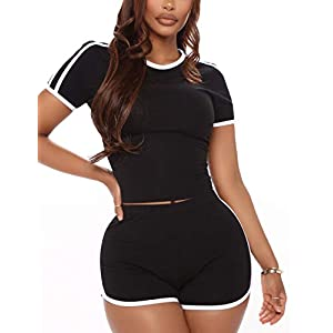WIHOLL Two Piece Outfits for Women Sexy Crop Top And Shorts Sets