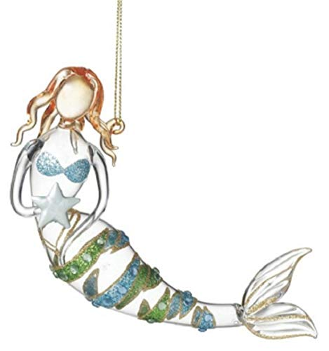 Midwest Glass Mermaid Holding a Starfish Ornament with Glitter Stripes (Christmas Glass Ornament Starfish)