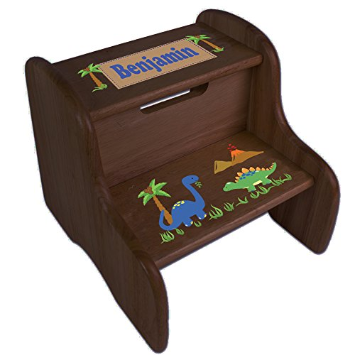 (Personalized Dinosaurs Espresso Two Step Stool)