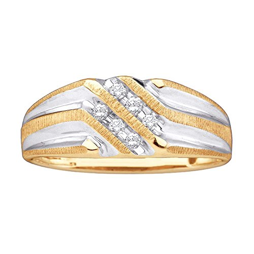(10kt Yellow Gold Mens Round Diamond Double Row Two-tone Ridged Wedding Band Ring 1/8 Cttw)
